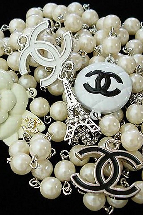 Chanel pearl and charm necklace
