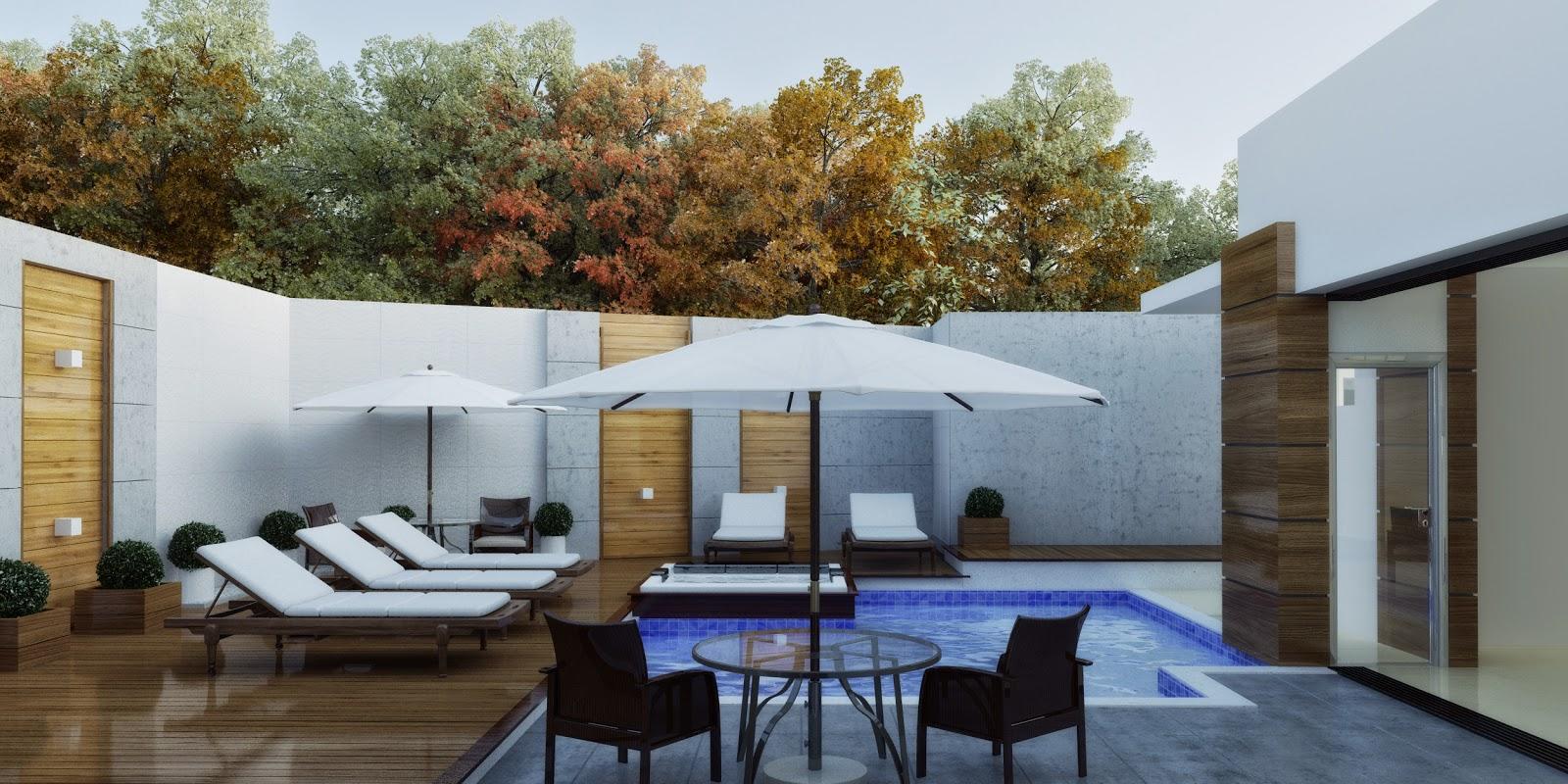 3dsul maquete eletr nica 3d casa moderna com piscina for Casa moderna piscina