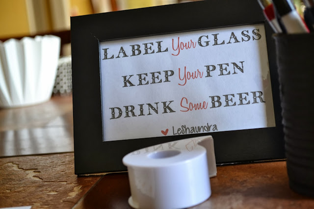 framed sign for beer tasting