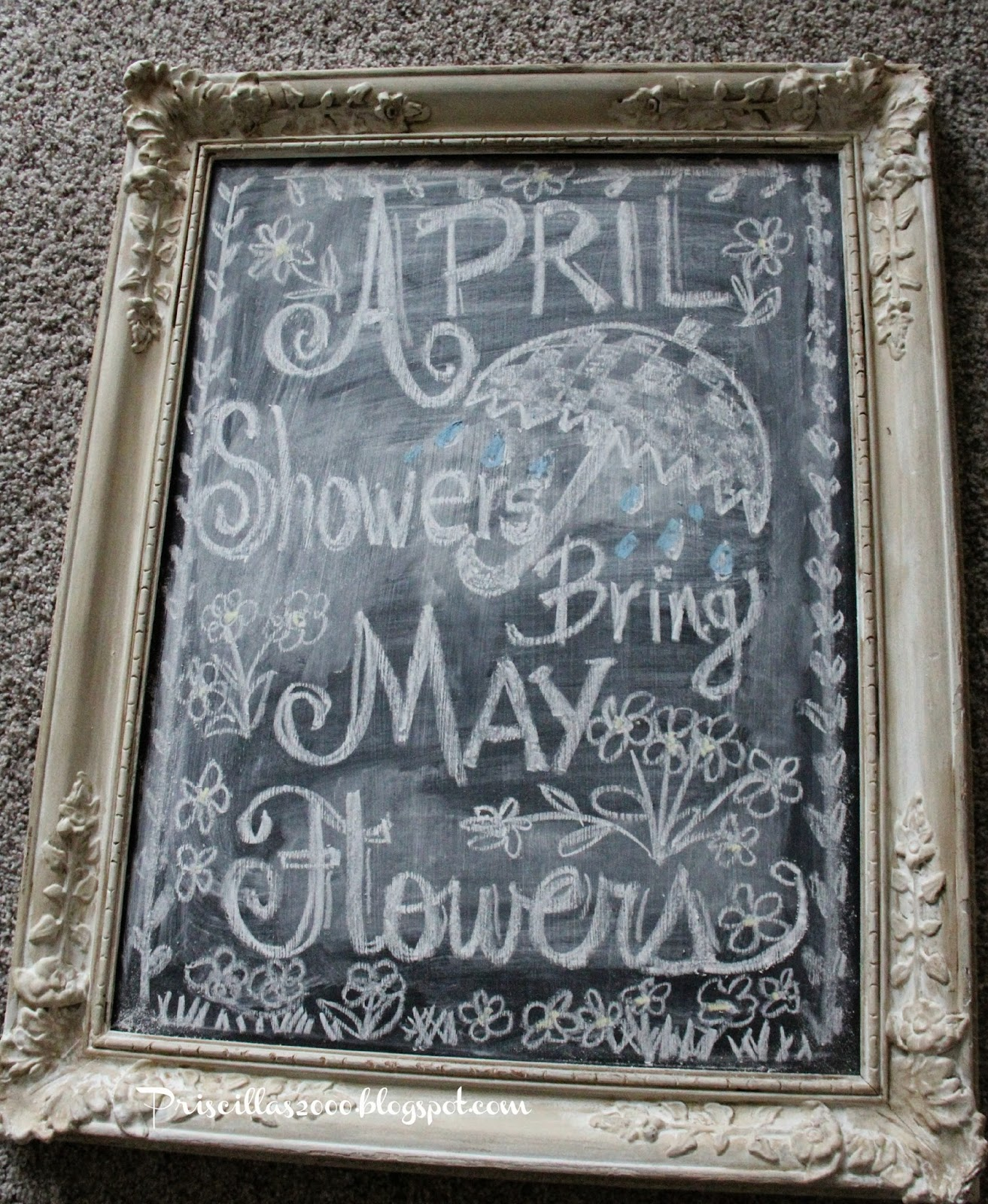 April Showers Bring May Flowers Spring Chalkboard: Priscillas: April Showers Bring May Flowers Chalkboard