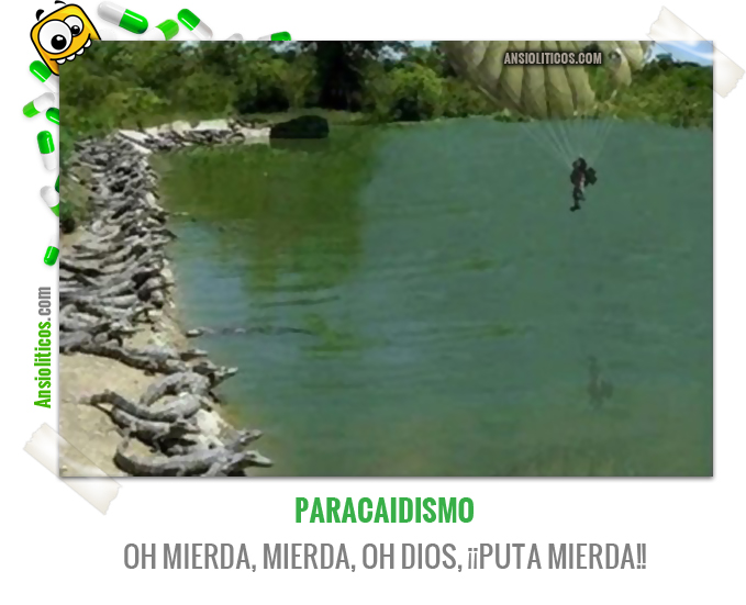 Chiste de Paracaidismo cayendo en una Laguna de Cocodrilos