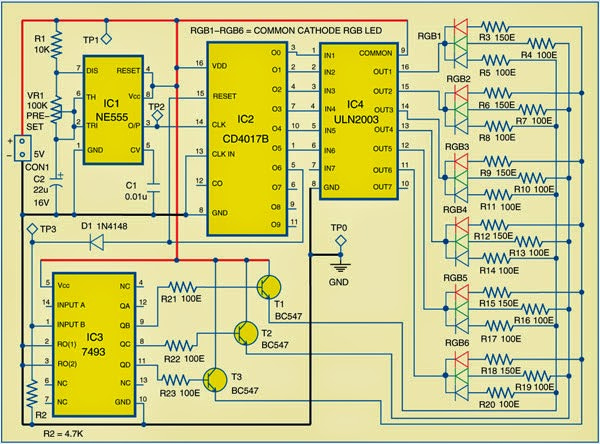 Seven-Colour LED Lighting Circuit Diagram | Electronic Circuits Diagram