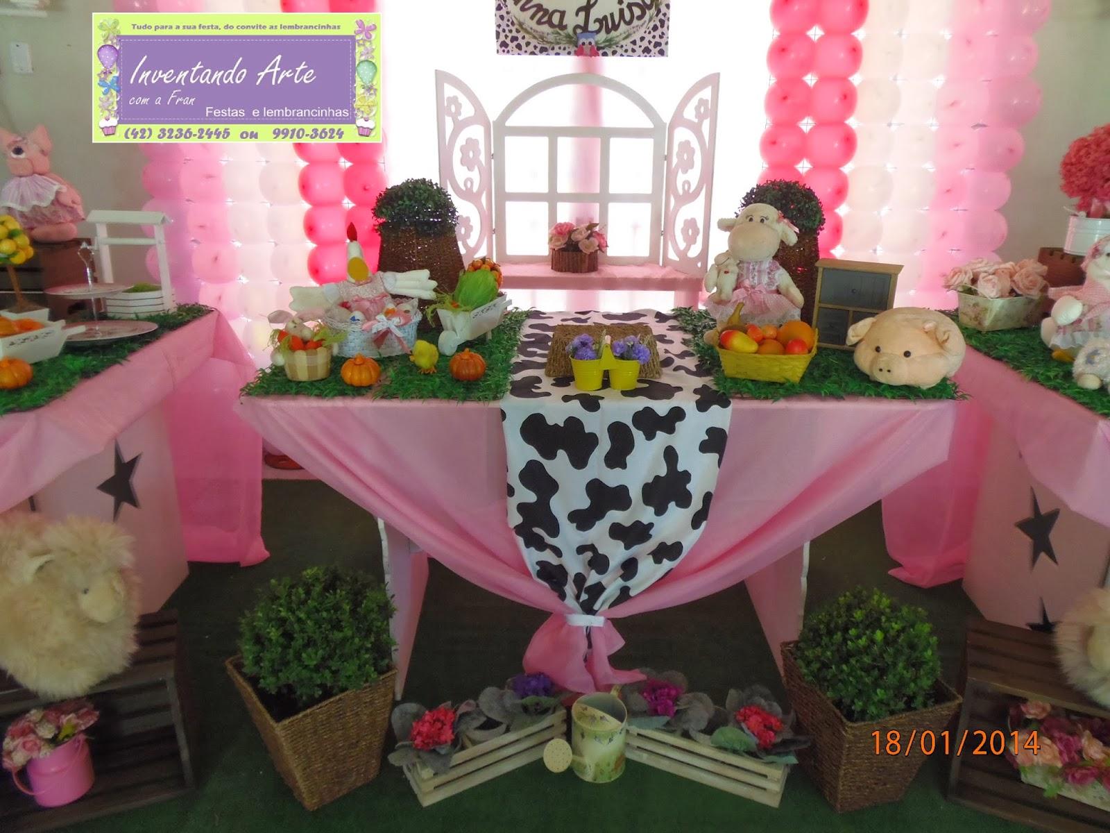 festa fazenda decoração fazendinha rosa
