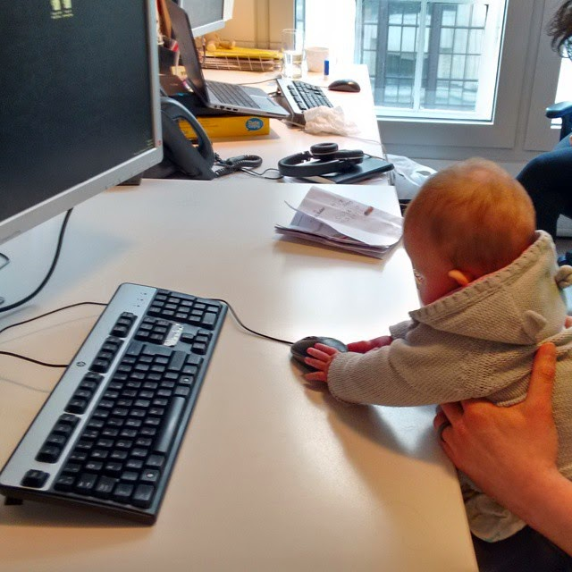 daughter at dads work