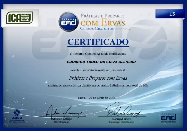 Certificado de Prática e preparo de ervas