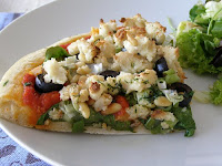 Pizza with Baked Almond Feta, Spinach and Pine Nuts