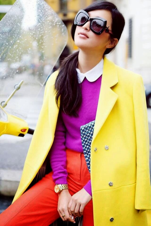 Awsome Bright Colours Outfit With Shades And Bag