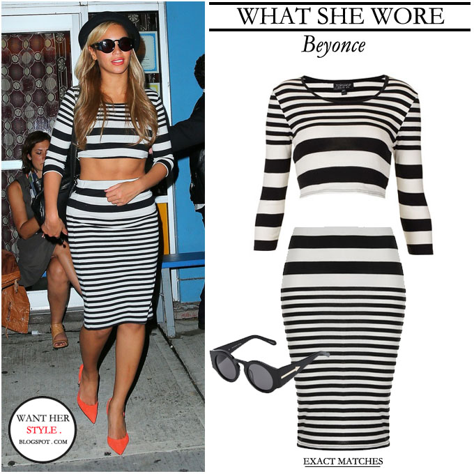 Beyonce in black and white stripe cropped top and tube skirt by