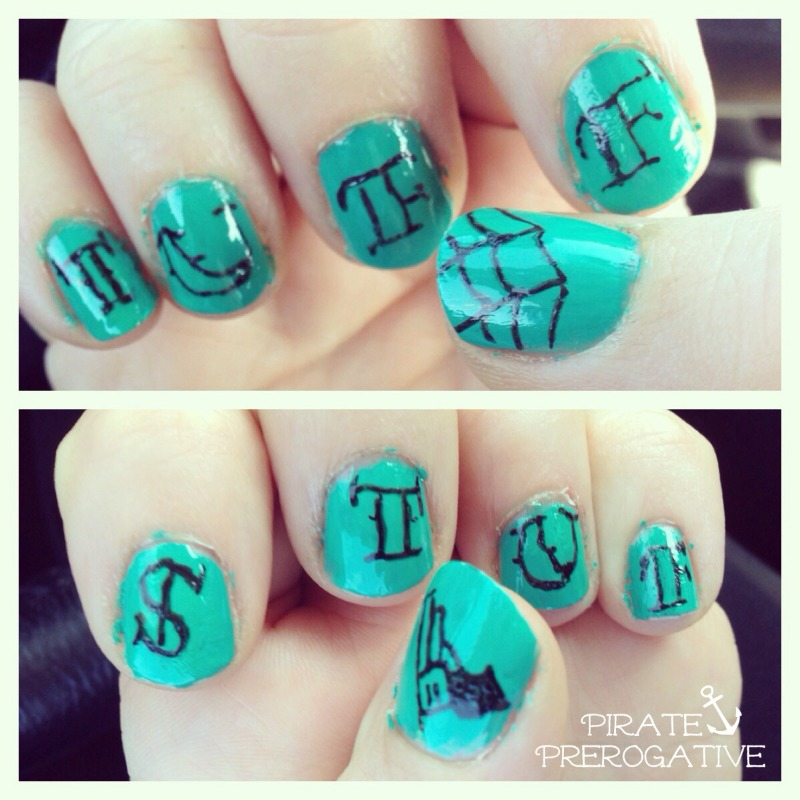 """Tuff Stuf "" tattoo inspired nails, totally doable for newbie nail artists."