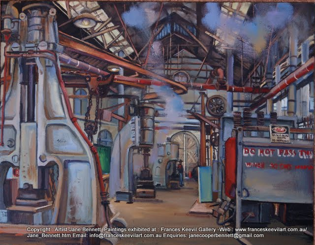 oil painting of Blacksmiths forge Eveleigh Railway Workshops by artist Jane Bennett