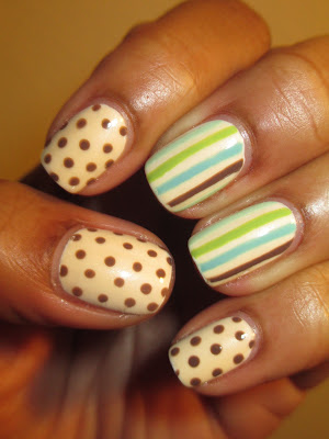 OPI, Jut Tea-sing, Sally Hansen, Min Sorbet, Green With Envy, vintage, stripes, polka dots, nails, nail art, nail design, mani