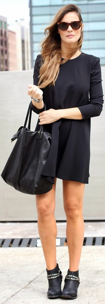 Black Round Neck Mini Dress with Leather Bag | Chic Street Outfits