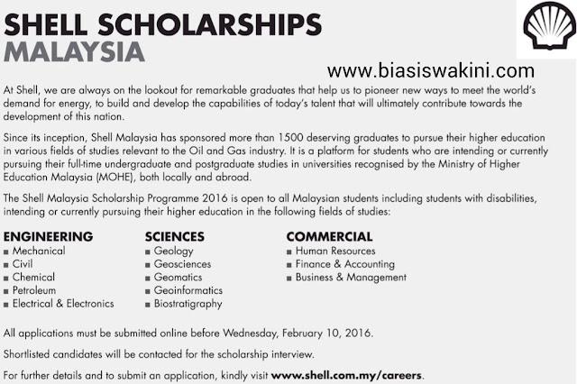 Shell Malaysia Scholarships 2016