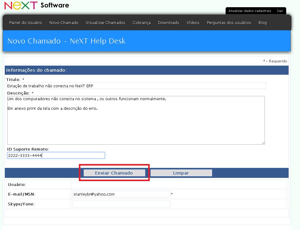 NeXT Help Desk 2.2 Service Desk NeXT Software suporte a usuários