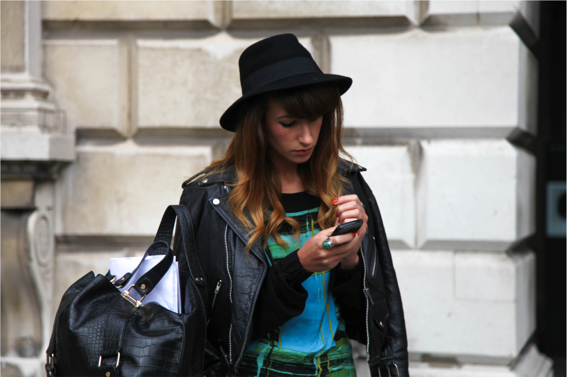 London Fashion Week street style bowler hat and biker leather jacket