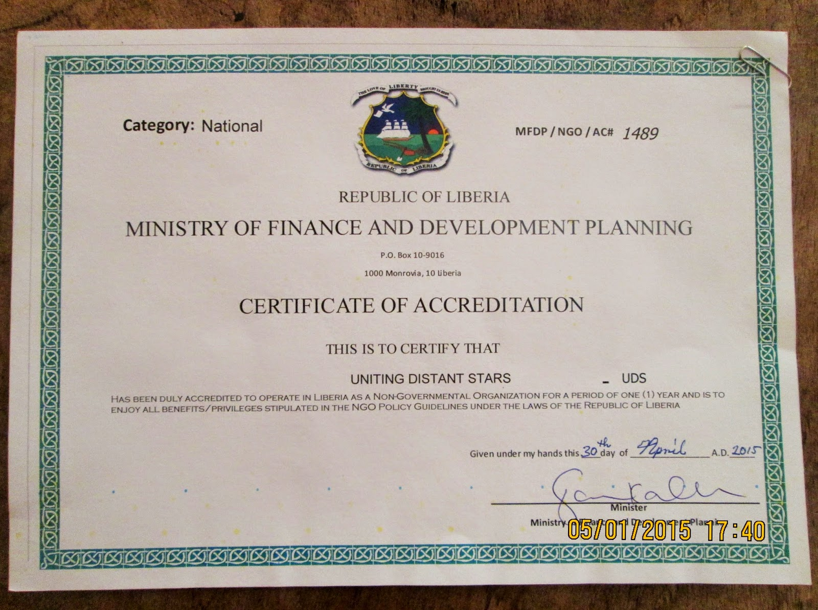 Press release uniting distant stars is now an accredited ngo in we received our certificate of business registration non for profit ngo on february 20 2015 a requirement for the accreditation 1betcityfo Image collections