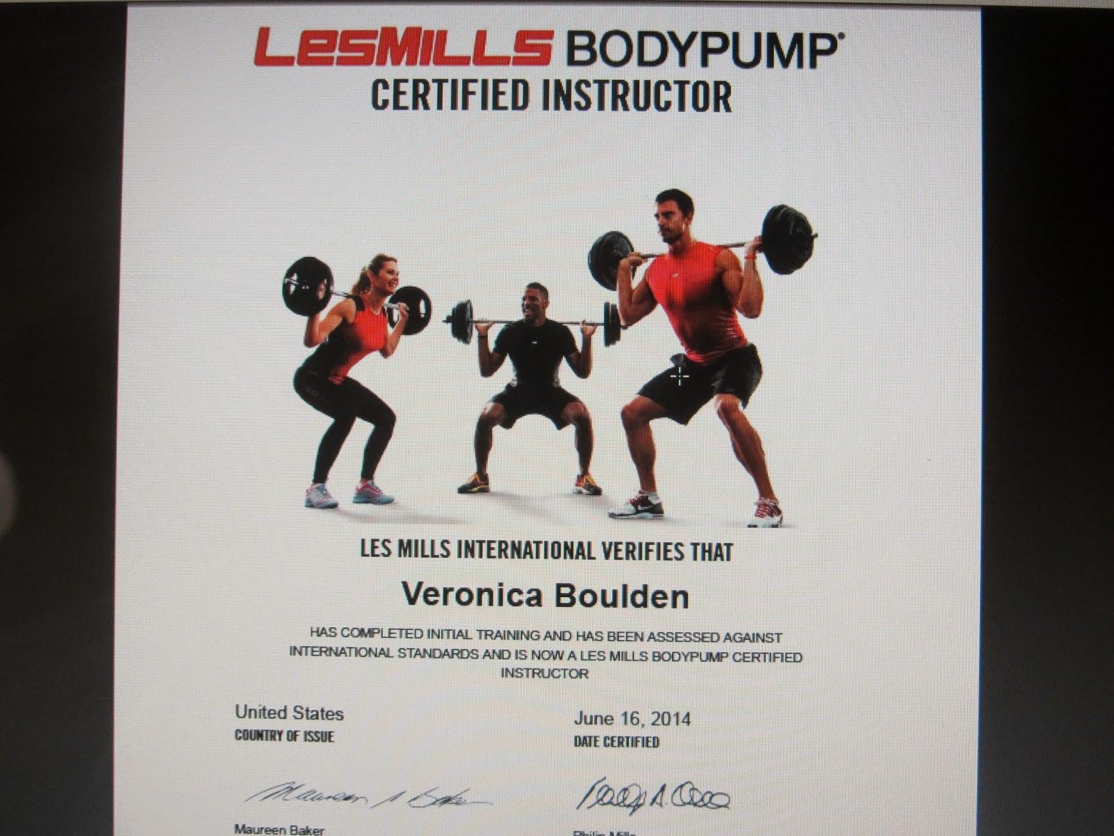 Veronica Boulden Bodypump Certification I Passed