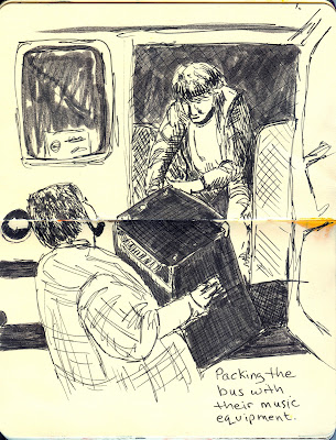Packing the Bus with Music Equipment - Pen and Ink - by Ana Tirolese ©2012