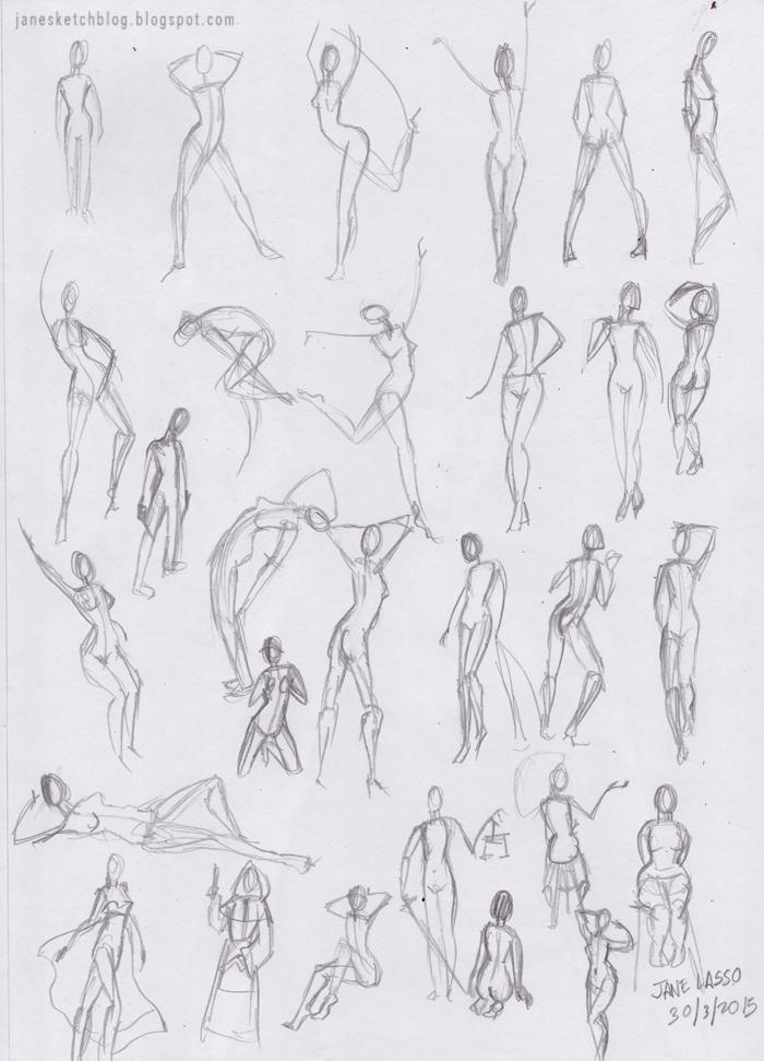 Dibujo gestual de poses , a lápiz.