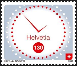 Sello postal suizo que representa queso un reloj, obra de Laura Mangiavacchi