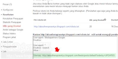 Sitemap standart milik Blogger