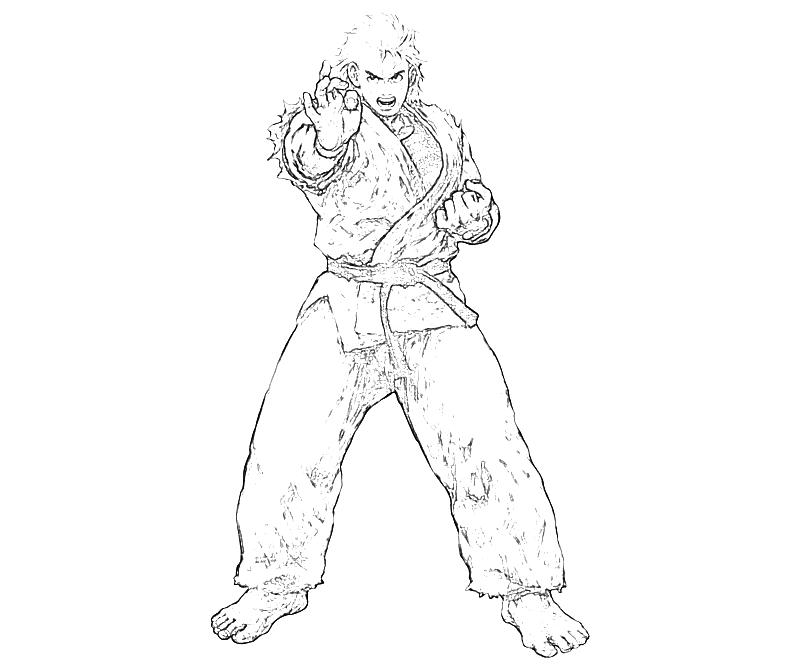 printable-king-of-fighters-ryo-sakazaki-profil-coloring-pages