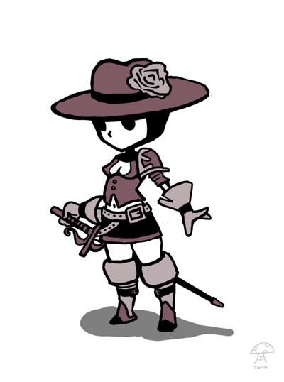 female musketeer without a musket