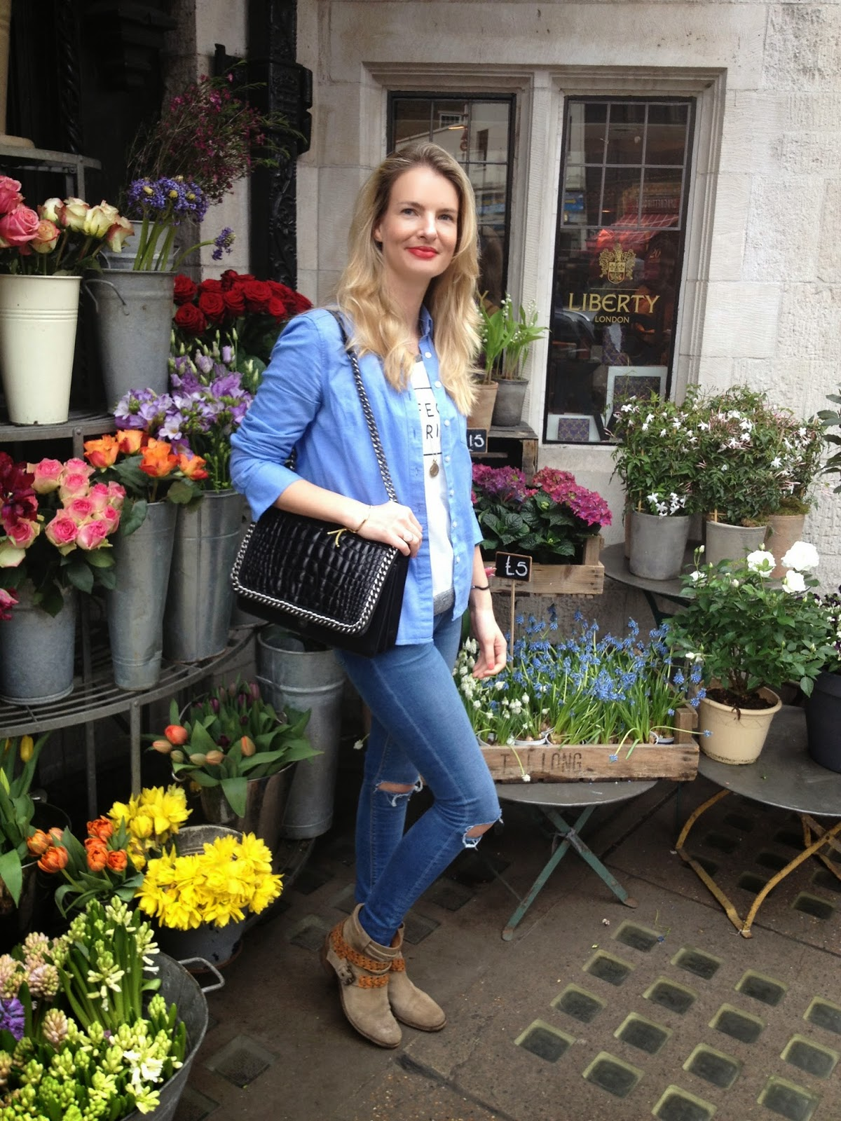 London, soho, Liberty, liberty london, liberty london flowers, street style, fashion blogger, zara bag, zara croco bag, denim on denim, denim shirt, asos jeans, asos denim, ripped jeans, russell and bromley, booties, boho chic, chrissabella