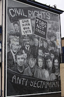 Civil Rights mural in the bog side.  Eamonn Deane's image is in the mural.