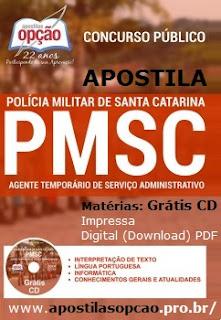 Apostila PM SC - Agente Temporário, concurso Policial Militar-SC 2015.