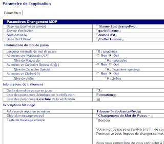 La page de paramètrage de l'application de changement de mots de passe