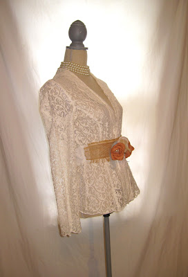 Light Summer Jacket, Handmade Rosette Sash Embellished Tunic