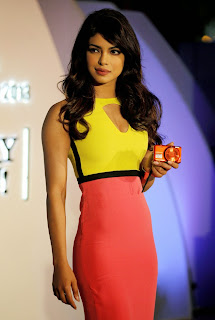 Priyanka Chopra's Hot Figure in Bright Yellow Pink Dress