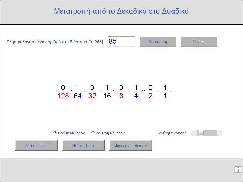 Μία δραστηριότητα του ψηφιακού σχολείου για τη μετατροπή ενός αριθμού από το δεκαδικό στο δυαδικό σύστημα αρίθμησης.