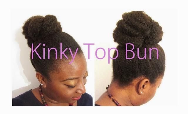 Coiffure cheveux crépus - kinky top bun