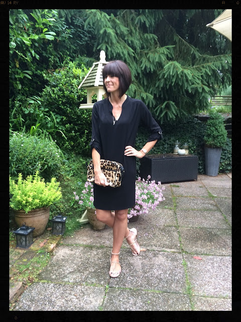 My Midlife Fashion, Wallis, Boden, Zara, studded sandals, leopard print, animal print, little black dress, lbd, wallis black woven V neck tunic