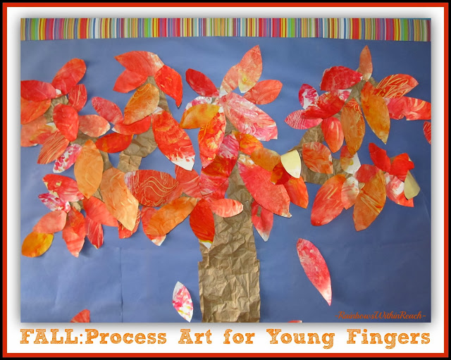 Fall Bulletin Board Using Process Art Finger Paintings for Leaves via RainbowsWithinReach