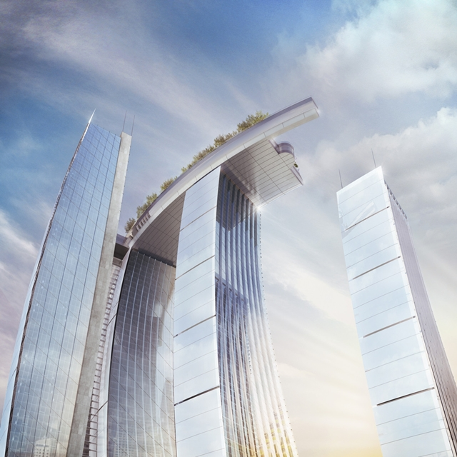 Photo of new skyscrapers connected with sky platform