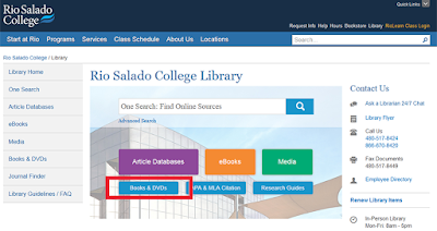 snapshot of library home page