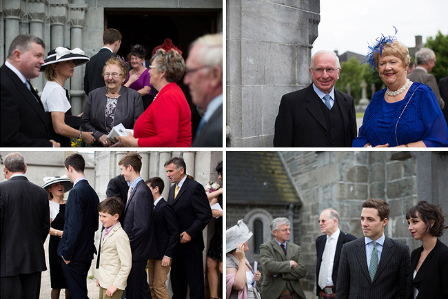 Wedding Photography Doonbeg Ireland, guests outside the church