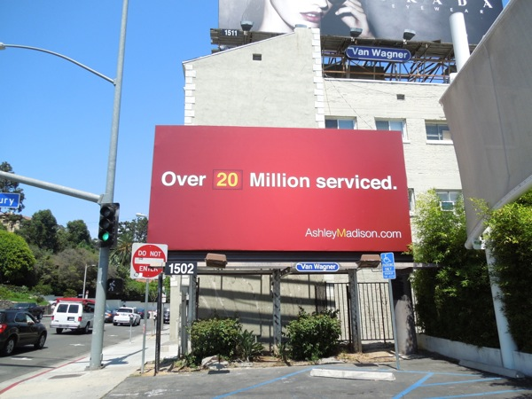 Over 20 million serviced Ashley Madison billboard