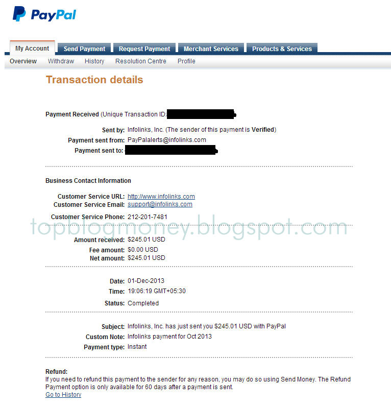 Infolinks Payment Proof