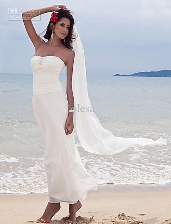 Delightful Tropical Hawaiian Beach Wedding Dresses Gown