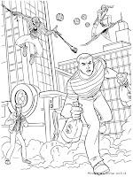 Gambar Mewarnai Spiderman Mengejar Perampok Bank
