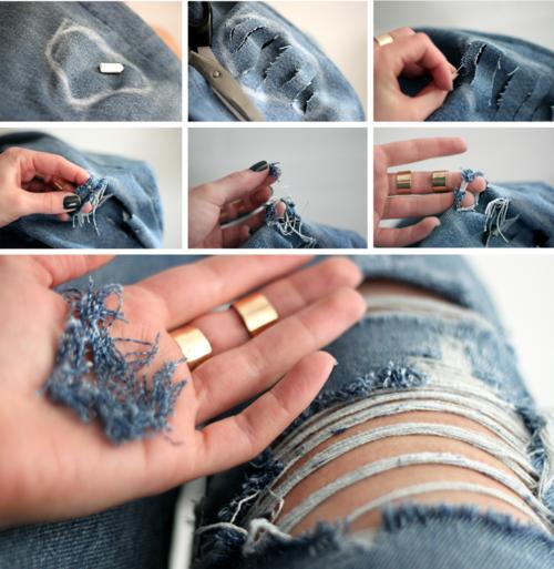Как сделать дырки на джинсах красивые