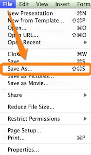 powerpoint for mac file menu save as button