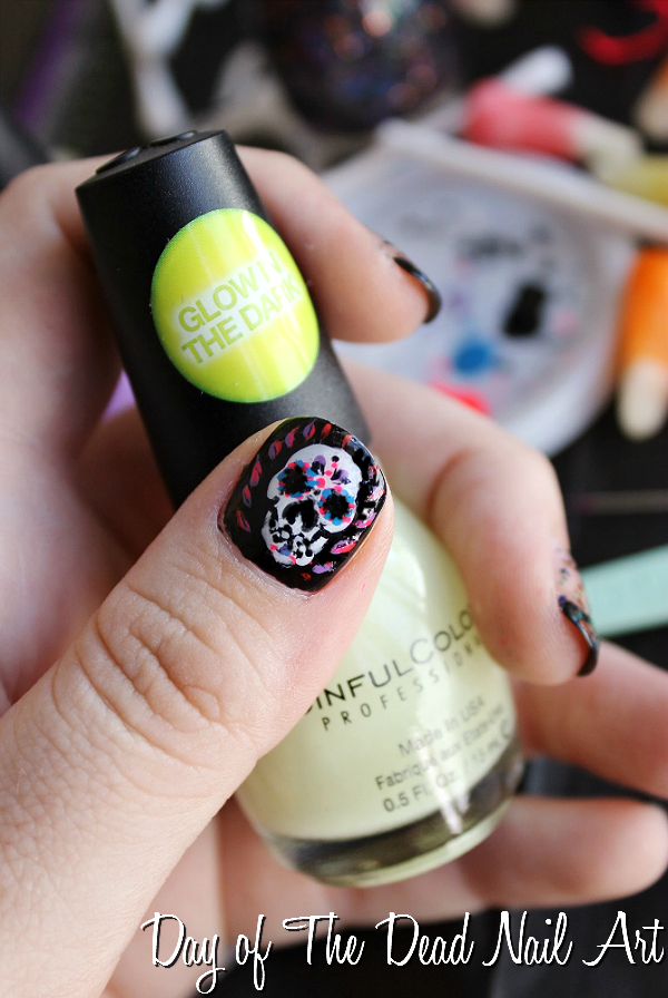 Day of the Dead Nail Airt- Fall Nail Trends with Sinful Colors- Splatter Spell, Glow In The Dark, Mystery Moonshine, Pumpkin Spice, and Cauldron Couture