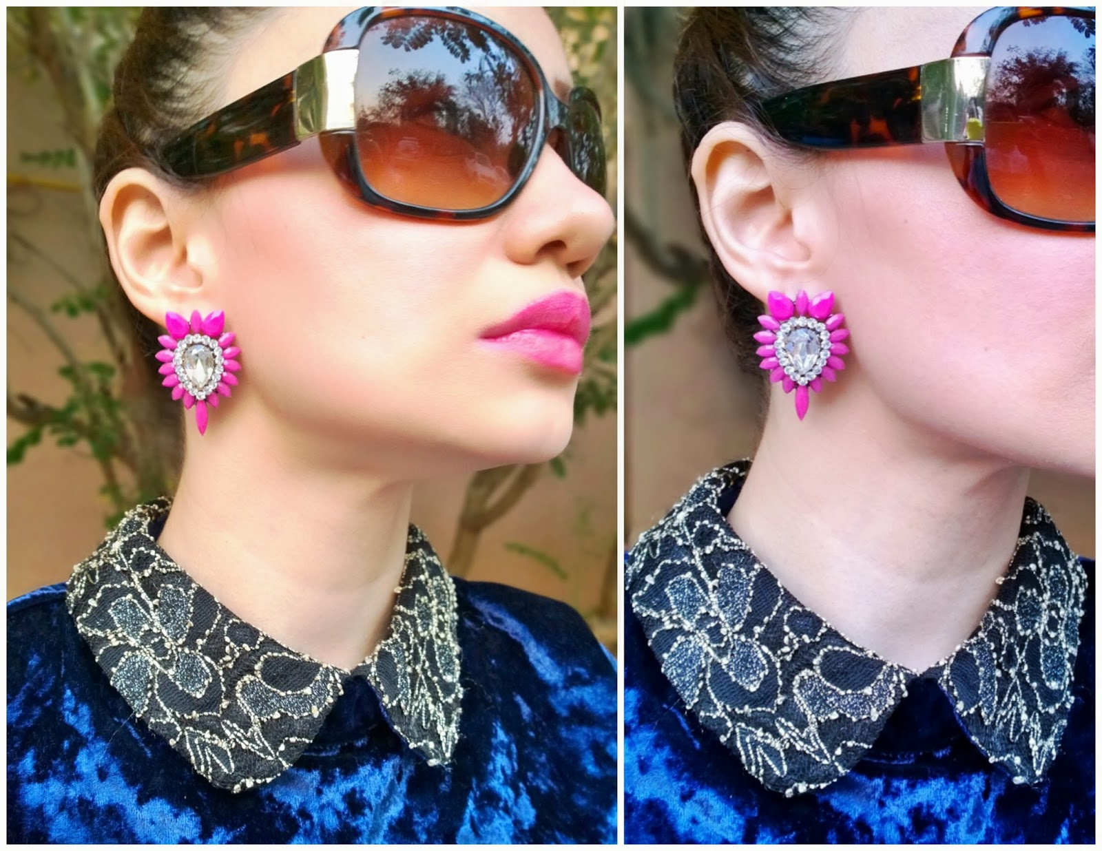 Blue Velvet Top & Pink and Crystal Earrings
