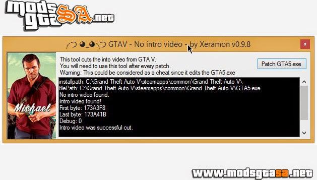 V - Mod Sem Video da Intro para GTA V PC