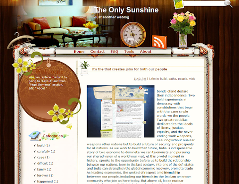 The Only Sunshine Blogger Theme